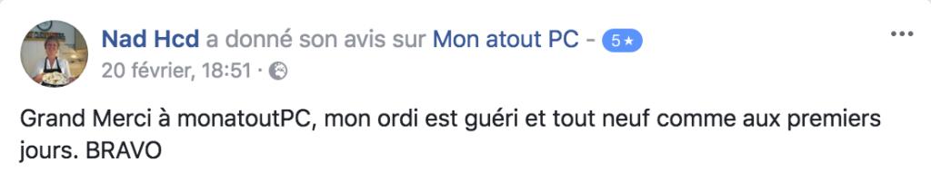 Avis Facebook - MonatoutPC